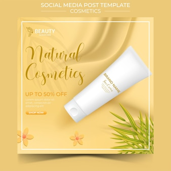 3d cosmetic product social media template for promotion