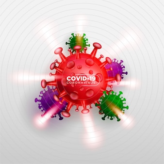 コロナウイルス攻撃について説明するための、リアル3dイラストレーションコンセプトのcovid coronavirus