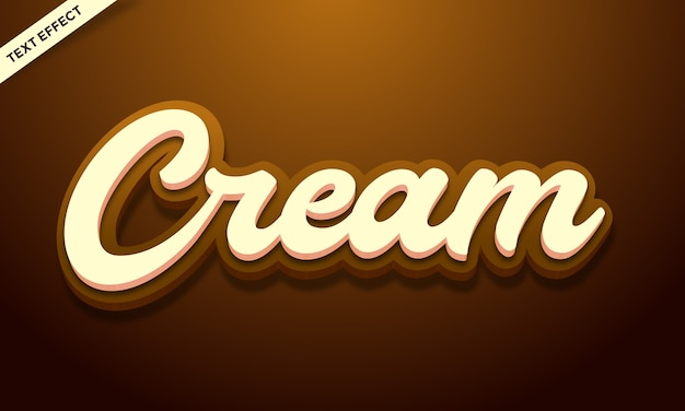 3d cream text effect or font effect style design