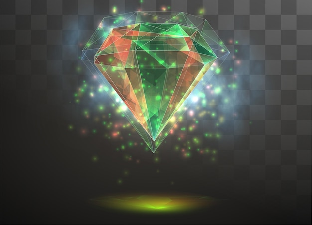 3d crystal on a transparent replaceable background. energy and magic.
