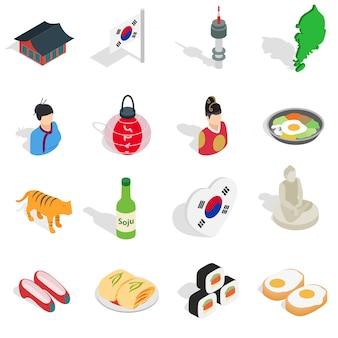 Набор иконок республики корея в изометрической 3d ctyle. южная корея набор коллекции векторные иллюстрации