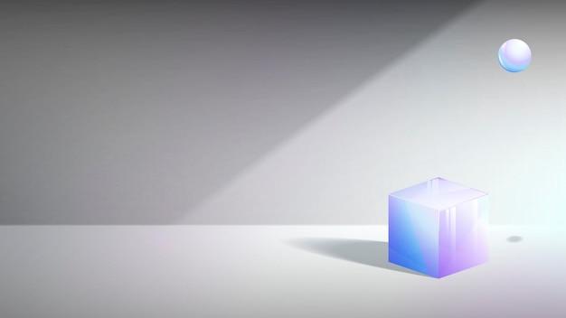 3d立方体と球の抽象