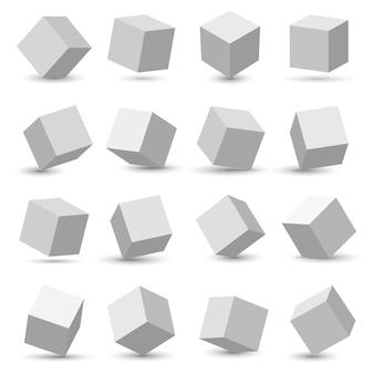 3d cube model icons set, geometric surfac rotate.
