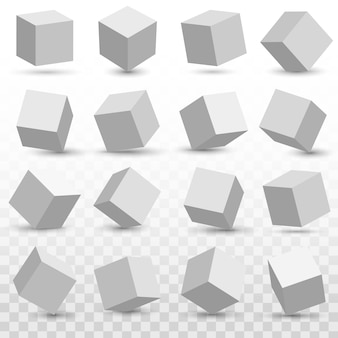 3d cube model icons set