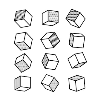 3d cube in pop art style in black and white.