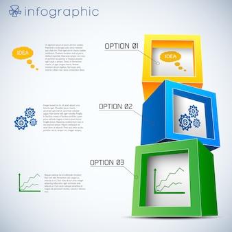 3d cubes infographics