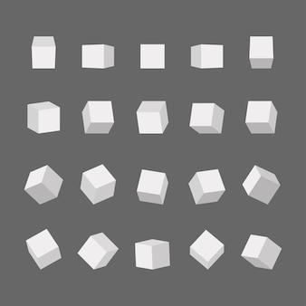 3d cubes with different perspectives and light