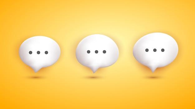 노란색 배경으로 설정된 3d 귀여운 거품 채팅 판지 만화 스타일 컬렉션