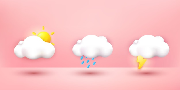 3d cute cloud cartoon collection icon set. kawaii cloud emoticon sticker, weather icon isolated