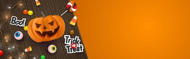 3d cute halloween banner