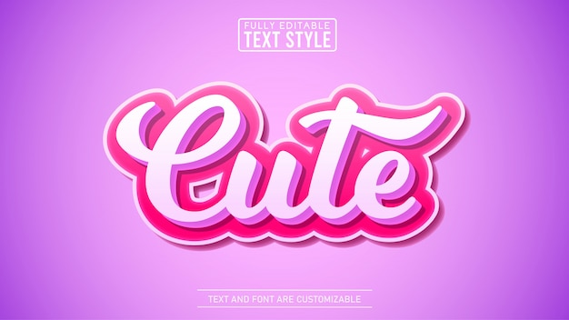3d cute modern editable text effect
