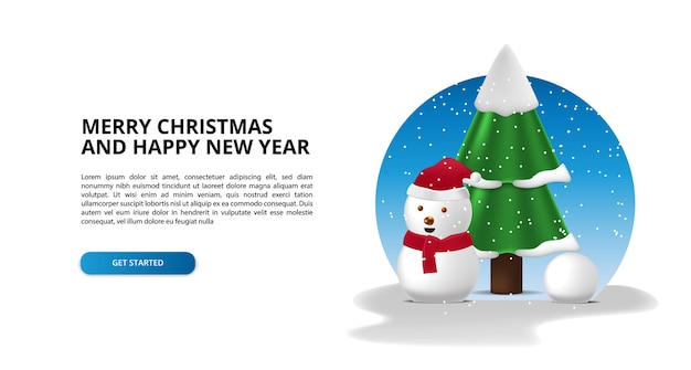 3d cute snowman and fir tree for merry christmas and happy new year illustration