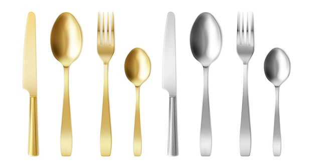 3d cutlery of golden and silver color fork, knife and spoon set.