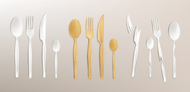 3d cutlery wood and broken plastic, disposable fork, spoon and knife. isolated bamboo biodegradable table setting made of natural eco recycle reusable material, realistic illustration, set