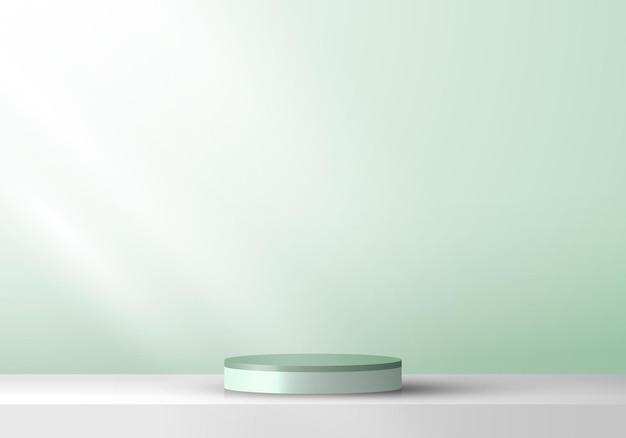 3d 실린더 받침대 제품 디스플레이 프레젠테이션 최소 벽 장면 녹색 민트 색상 배경. 화장품, 모형, 전시회 등에 사용할 수 있습니다. 벡터 일러스트 레이 션