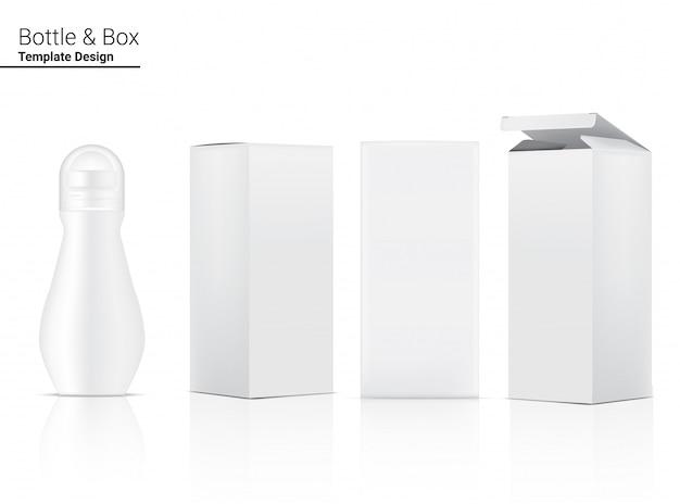 3d 탈취제 병 빈 현실적인 화장품 및 스킨 케어 제품 상자. 건강 관리 및 의료 컨셉 디자인.