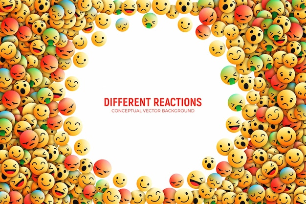 3d design facebook emoji icons with different reactions social network conceptual art illustration