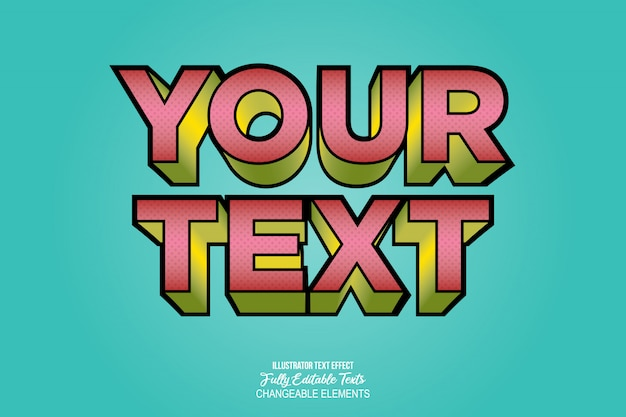 3d detailed text effect video game comic style