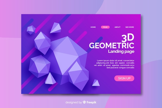 3d diamond geometric shapes landing page