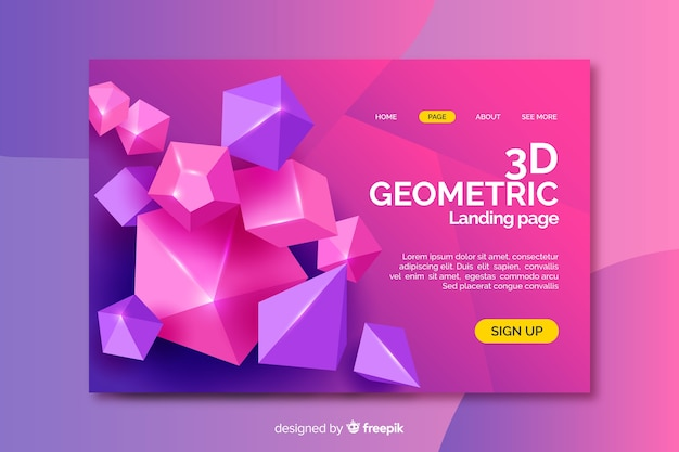 3d diamond shapes landing page