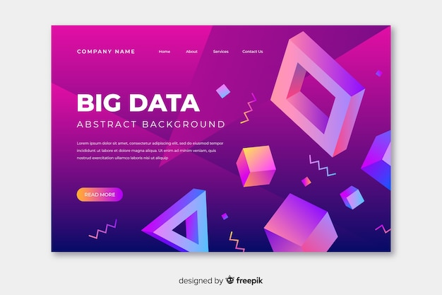 3d different geometric shapes landing page