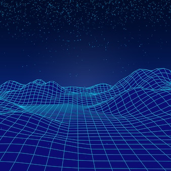 3d digital vector landscape with falling down particles like a snow.