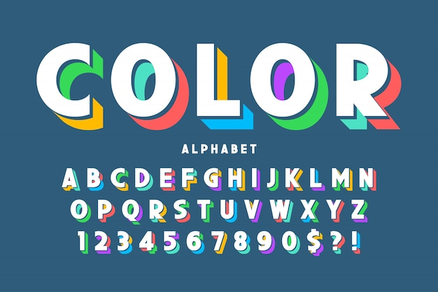 3d display font design, alphabet, letters and numbers.