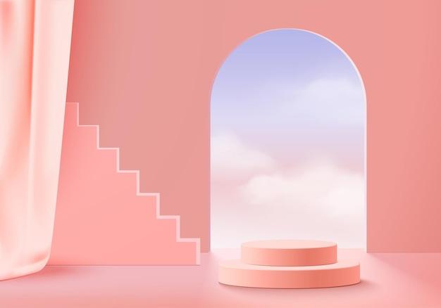 3d 디스플레이 제품은 클라우드 기하학적 연단 플랫폼을 사용하여 최소한의 장면을 추상화합니다. 연단과 배경 벡터 3d 렌더링입니다. 화장품을 의미합니다. 받침대 3d 핑크 구름 하늘에 무대 쇼케이스