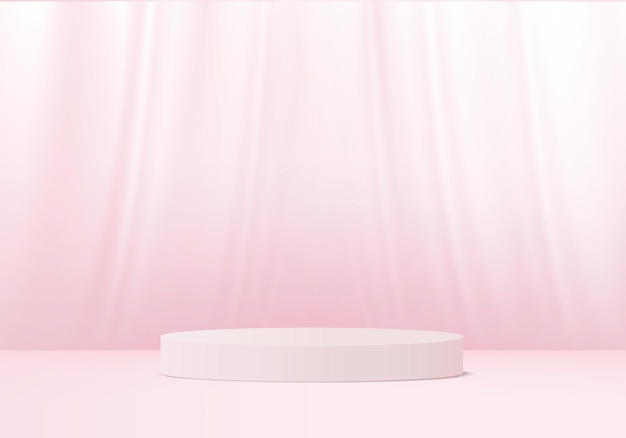 3d display product abstract minimal scene with geometric podium platform. cylinder background 3d rendering with podium. stage showcase on pedestal 3d pink studio