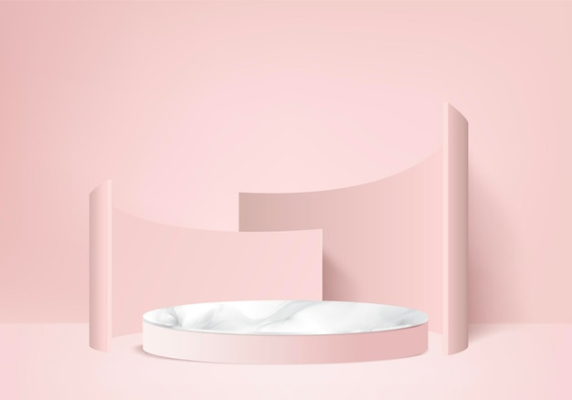 3d display product abstract minimal scene with geometric podium platform. cylinder background 3d rendering with podium. stand for cosmetic products. stage showcase on pedestal 3d pink studio