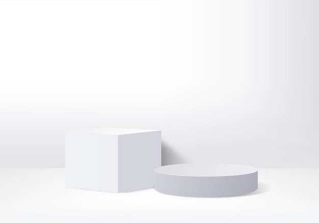 3d display product abstract minimal scene with geometric podium platform cylinder background 3d rendering with podium stand for cosmetic products stage showcase on pedestal 3d white studio