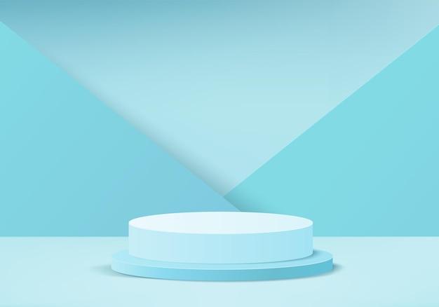 기하학적 연단 플랫폼 실린더 배경으로 3d 디스플레이 제품 추상 최소한의 장면 화장품 제품에 대 한 연단 스탠드와 3d 렌더링 받침대 3d 블루 스튜디오에 무대 쇼케이스