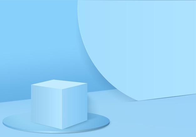 幾何学的な表彰台プラットフォームシリンダー背景を備えた3dディスプレイ製品の抽象的な最小限のシーン化粧品用の表彰台スタンドを備えた3dレンダリング台座上のステージショーケース3dブルースタジオ