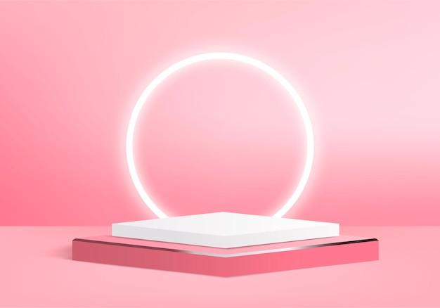 기하학적 연단 플랫폼과 3d 디스플레이 제품 추상 최소한의 장면. 실린더 배경 연단과 3d 렌더링입니다. 대,. 받침대 3d 핑크 스튜디오의 무대 쇼케이스