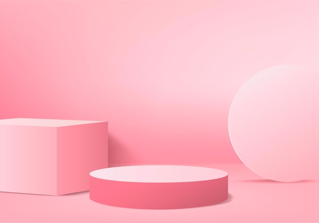 3d display product abstract minimal scene with geometric podium platform. cylinder background 3d rendering with podium. stand,. stage showcase on pedestal 3d pink studio