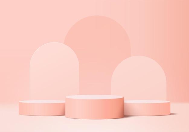 3d 디스플레이 제품은 기하학적 연단 플랫폼을 사용하여 최소한의 장면을 추상화합니다. 실린더 배경 벡터 연단과 3d 렌더링입니다. 화장품을 의미합니다. 받침대 3d 핑크 스튜디오의 무대 쇼케이스