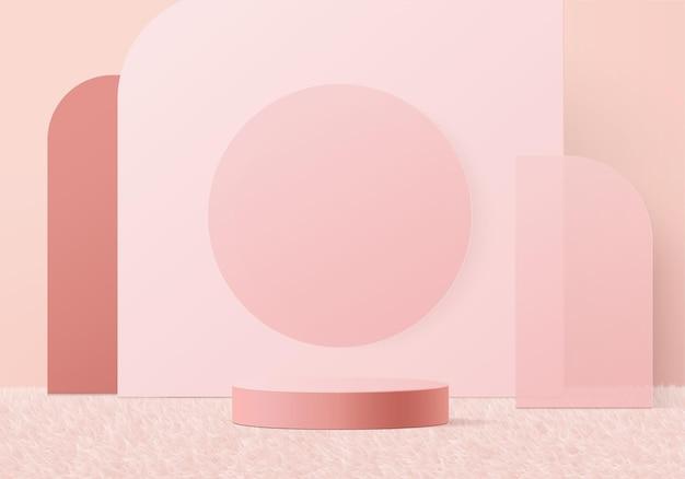 幾何学的な表彰台のプラットフォームを備えた3dディスプレイ製品の抽象的な最小限のシーン。台座の3dピンクスタジオのステージショーケース