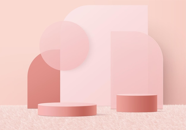 3d display product abstract minimal scene with geometric podium platform. stage showcase on pedestal 3d pink studio