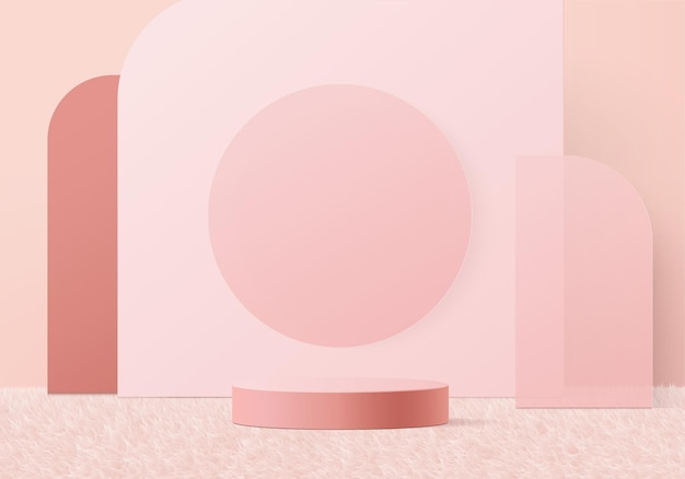 3d display product abstract minimal scene with geometric podium platform.stage showcase on pedestal 3d pink studio