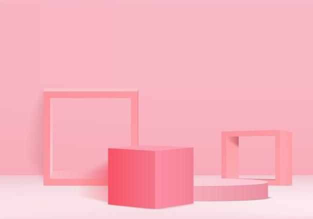 幾何学的な表彰台プラットフォームを備えた3dディスプレイ製品の抽象的な最小限のシーン