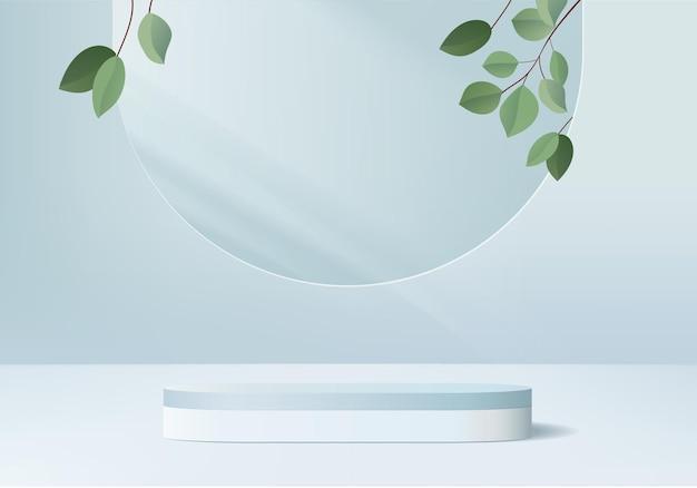 잎 기하학적 연단 플랫폼 실린더가있는 3d 디스플레이 제품 최소 장면