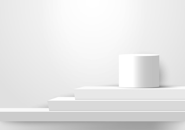 3d display realistic white color geometric podiums steps stairs for winner award. vector illustration