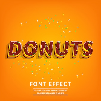 3d donuts text effect with topping