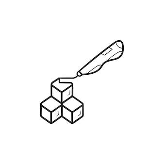 큐브 모델 손으로 그린 개요 낙서 아이콘을 만드는 3d 두들러 펜. 미래 기술 및 혁신 개념입니다. 인쇄, 웹, 모바일 및 흰색 배경에 인포 그래픽에 대한 벡터 스케치 그림.