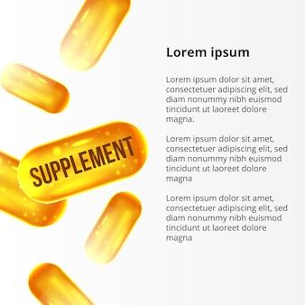 3d drop falling supplement yellow gold