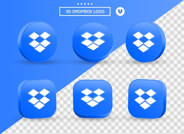 3d dropbox logo in modern style circle and square for social media icons logos