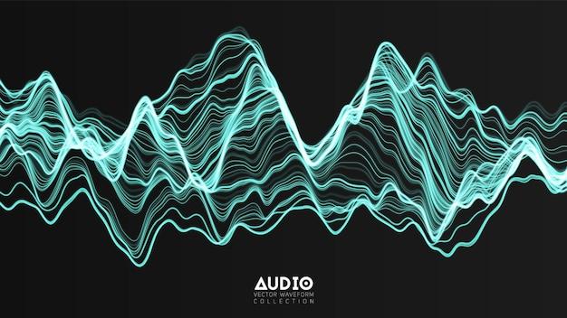 Трехмерное эхо-звуковая волна из спектра. график колебаний абстрактных музыкальных волн.
