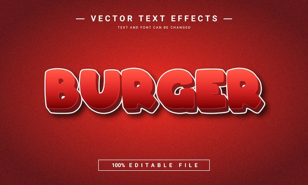 3d editable red color burger text effect