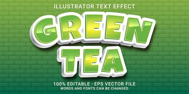 Редактируемый текстовый эффект 3d - стиль зеленый чай