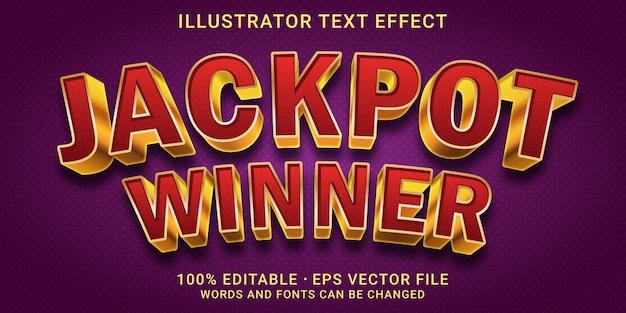 Редактируемый текстовый эффект 3d-стиль победитель джекпота